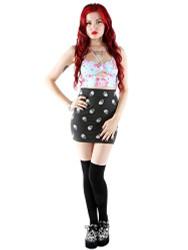 Skull A Dot Mini Skirt IFL-SKT-12926