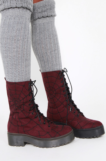 Iron Fist/Walking In My Web Heavy Sole Boot Burgundy IFW005099