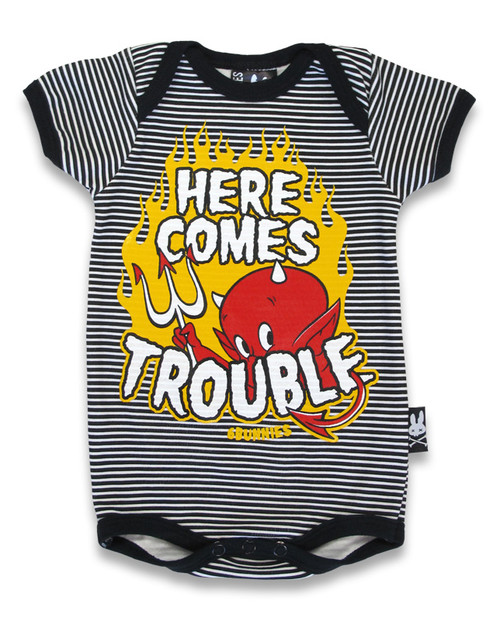 Six Bunnies Here Comes Trouble Baby Romper  RP-016