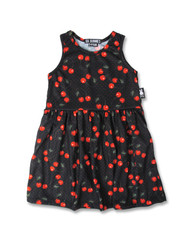 Six Bunnies Cherries Black Kid's Dress  SB/KDR-005