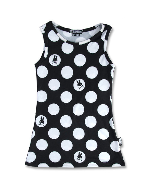 Six Bunnies Polka Dot Black Kid's Dress  SB-KDR-026