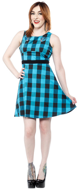 Sourpuss Buffalo Plaid Swallows Dress  SP-DR-322