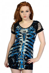 Banned Blue Ribcage Top  OBN-141-BLU