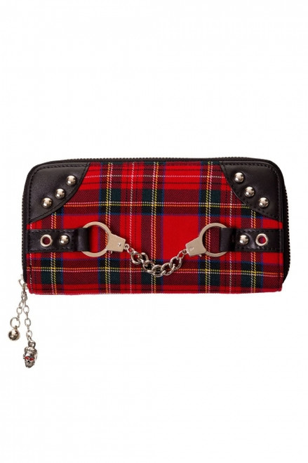 Banned Red Tartan Handcuff Wallet  WBN-1427