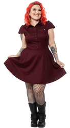Sourpuss Chech Dress Oxblood  SP-DR-363