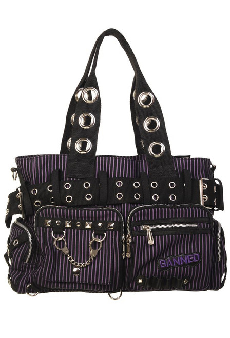 Banned Handcuff Handbag Black / Purple (BBN-754-BLK-PUR)