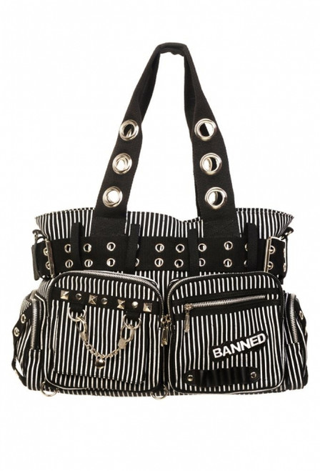 Banned Handcuff Handbag Black / White  BBN-754-BLK-WHT
