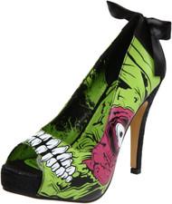 Ladies Zombie Stromper Platform Shoe Green with Satin Bow Detail IFL-PLH-10837