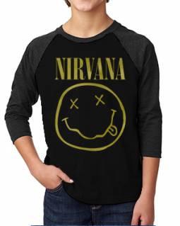 Nirvana Distressed Smilie Kids Raglan Tee