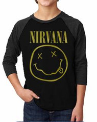 Nirvana Distressed Smilie Kids Raglan Tee