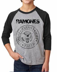 Ramones Distressed Logo Kids Raglan Tee