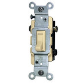 Leviton 1453-2 - 15A 120V Toggle Framed 3-Way AC Quiet Switch