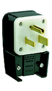 Leviton 9650-P - 50 Amp, 250 Volt 2 Pole Straight Blade Plug (Angle)