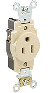Leviton 5261 - 15A, 125V, NEMA 5-15R, 2P, 3W, Narrow Body Single Receptacle, Straight Blade