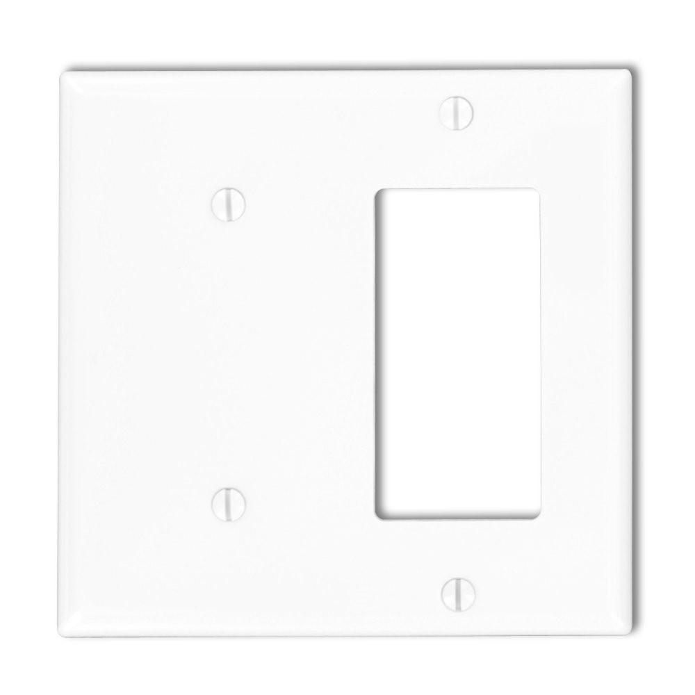 Ivory Leviton 80708-I 2-Gang 1-Blank 1-Decora//GFCI Device Combination Wallplate Standard Size