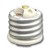 Leviton 8681 - 1-Piece Mogul-Medium Base Glazed Porcelain Lampholder Adapter/Extension