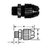 """T&B 2672 - 1/2"""" (.250-.400) Black Beauty Liquidtight Strain Relief Cord Connector"""