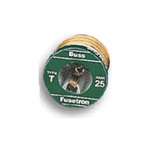Bussmann T-6-1/4 - Dual-Element 125 Volt Time-Delay Edison Base Plug Fuse