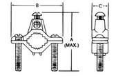 "T&B J - 1/2"" - 1"" Cast Bronze Ground Clamp - Type J"
