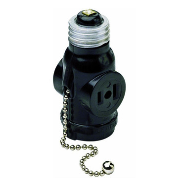 Leviton 1406 - 250W, 125V AC 2-Outlet Socket Adapter w/Pull Chain