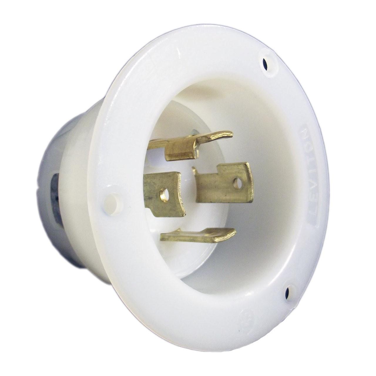 Leviton 2715  250v 3 Pole Flanged Inlet Locking