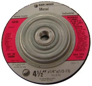 "Black & Decker 44584 - 4-1/2"" X 1/4"" Industrial Metal Wheel"