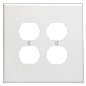 Leviton 88116 - Oversized White 2-Gang Duplex Device Receptacle Wallplate