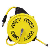 "Power Port  MHR 3538-ORS - Metal (Industrial Type) Rewind Hose Reel 35' x 3/8"" I.D. Yellow PVC"