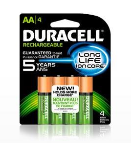 Duracell DX1500 - AA Rechargeable NIMH Batteries - 4 Pak