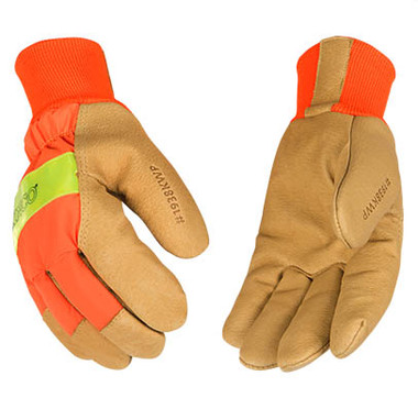 Kinco 1938KWP - HI-VIS Grain Pigskin Leather Palm Gloves with Waterproof Insert