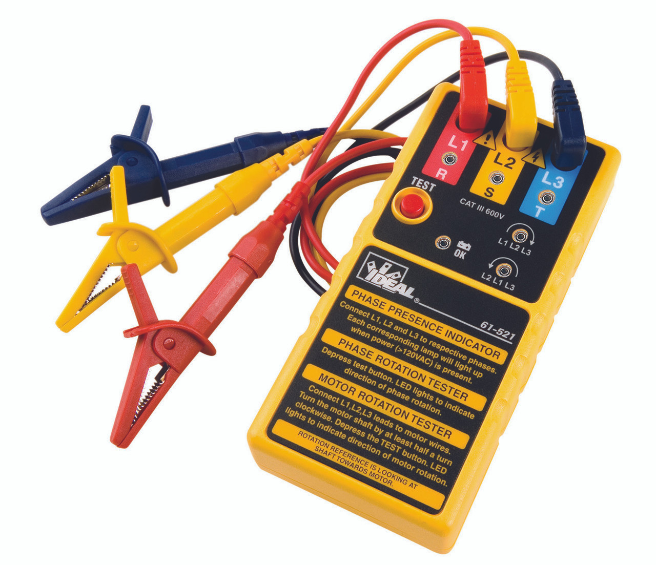 Outstanding Ideal 61 521 Electrical Motor Rotation Meter 3 Phase Tester Wiring Digital Resources Cettecompassionincorg