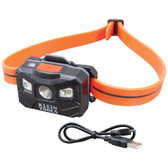 Klein Tools 56064 Rechargeable Headlamp w/Silicone Strap, 400 lm, All-Day Run, Auto-Off