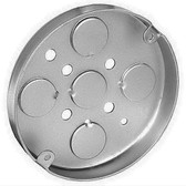 Crouse Hinds TP269 Round 4 in. Dia. Ceiling Pan, Steel, Fixture Rated, 1/2 in. D, (5) 1/2 in. Bottom KO