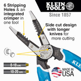 Klein Tools K12065CR Klein-Kurve Heavy-Duty Wire Stripper - Cutter - Crimper Multi Tool 8-20 AWG