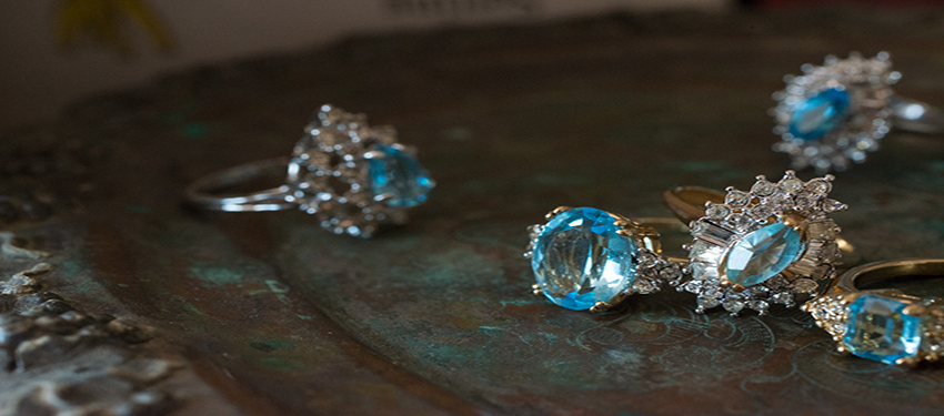 March birthstone vintage aquamarine rings- cubic zirconia - clear Swarovski crystals