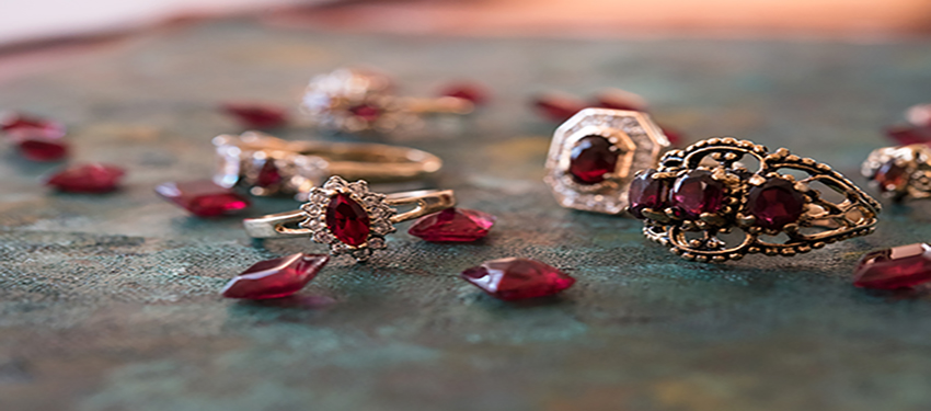 January birthstone vintage garnet rings - cubic zirconia - clear Swarovski crystals