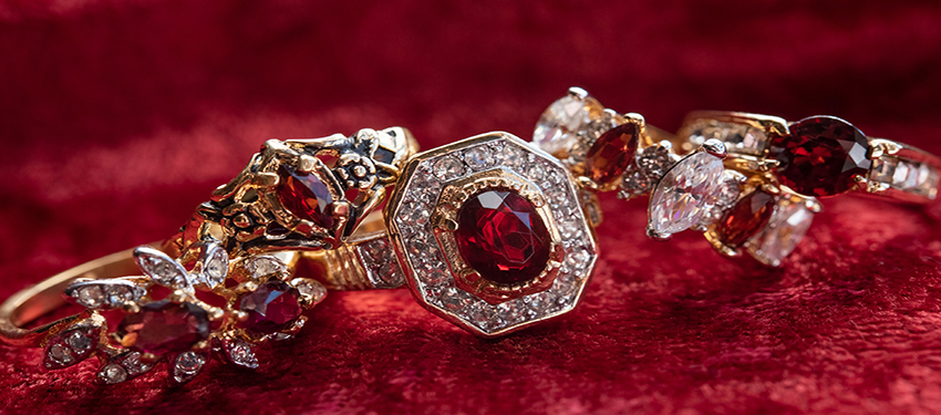 vintage garnet rings - genuine coral - buy online now - free shipping
