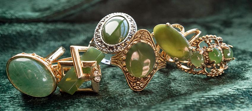 vintage jade rings - genuine gemstones  - buy online now - free shipping