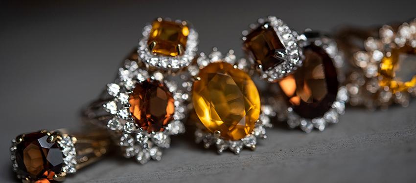 November birthstone vintage topaz rings - cubic zirconia - clear Swarovski crystals