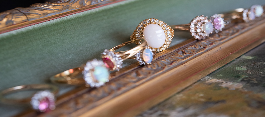 October birthstone vintage opal rings - cubic zirconia - clear Swarovski crystals