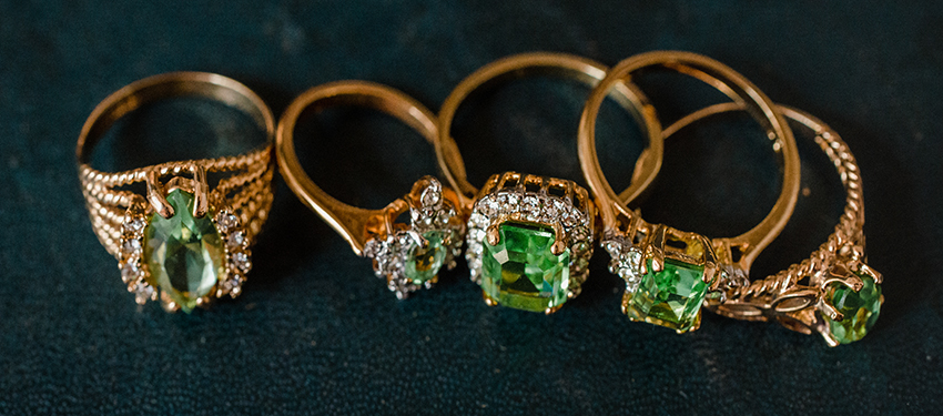 August birthstone vintage peridot rings - cubic zirconia - clear Swarovski crystals