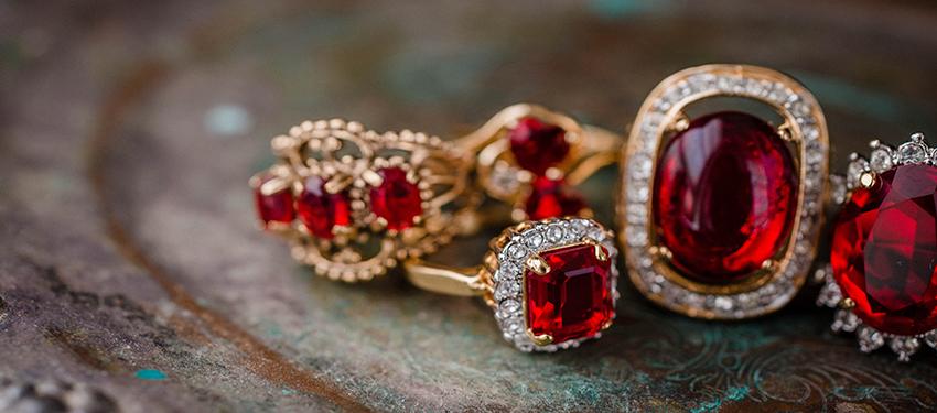 July birthstone vintage ruby rings - cubic zirconia - clear Swarovski crystals