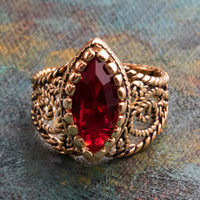 Vintage Ring Ruby Swarovski Crystal Antiqued 18k Yellow Gold Electroplated Filigree Edwardian Style Made In USA