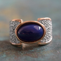 Vintage Lapis Lazuli Bead and Clear Swarovski Crystal Cocktail Ring 18k Yellow Gold Electroplated Made in USA