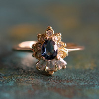 Vintage 1990's Sapphire and Clear Swarovski Crystals 18k Yellow Gold Plated Ring Made in USA