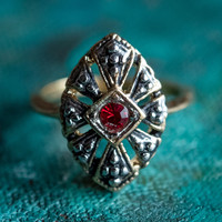 Vintage Antiqued 18k Yellow Gold Electroplated Ring Ruby Swarovski Crystal Edwardian Style Made In USA