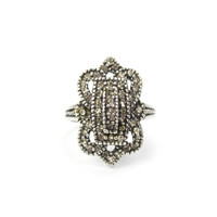 Vintage Crystal Cocktail Ring Antique 18k White Gold Electroplated Made in USA