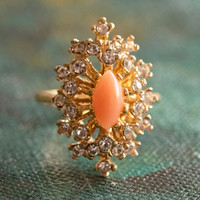 Vintage Genuine Coral Surrounded by Clear Swarovski Crystals Cocktail Ring 18k Yellow Gold Electroplated Made in USA