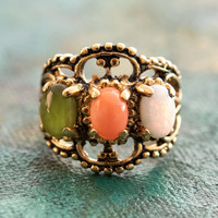 Vintage Genuine Cabochon Opal, Jade, and Coral Cocktail Ring Antiqued 18k Yellow Gold Electroplated Made in the USA