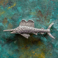 Vintage Fish Pin Clear Swarovski Crystals 18k White Gold Electroplated Made in USA